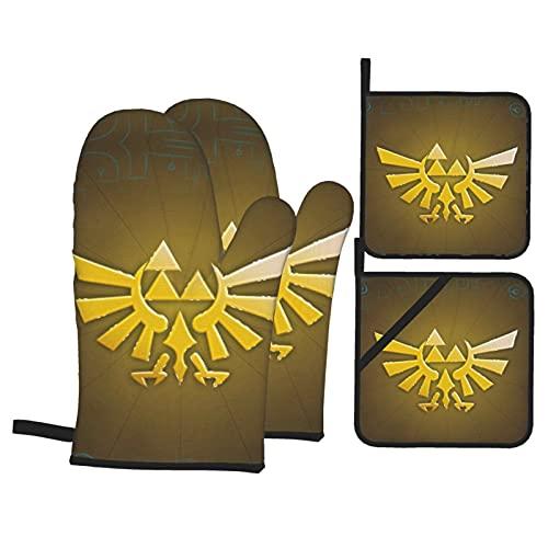 Nicegift The Legend Of Zelda - Juego de 4 soportes para ollas de algodón acolchados con bolsillo de posición de dedo, resistentes al calor para cocinar o hornear: 28 x 18 cm y Ph: 20 x 20 cm