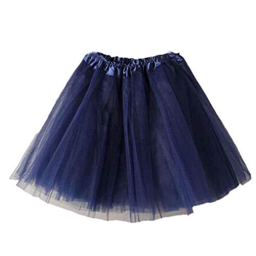 Falda de Tutu Mujer,SHOBDW Pettiskirt Sólido de Gasa Plisada Falda Corta Vestidos De Baile Rendimiento De Disfraces Regalo De Cumpleaños Adulto Mini Tutu Dancing Skirt(Armada)