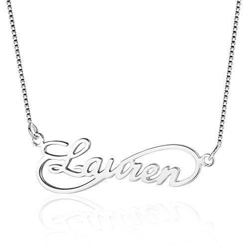 Bo&Pao Infinity Namenskette 925 Sterling Silber mit einem Wunschnamen, Individuelle Unendlichkeit Halskette Silber/Rosegold/Gold mit Namen