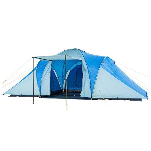 Skandika Kuppelzelt Daytona XXL 6 Personen | Familienzelt mit 3 großen Schlafkabinen, 3000 mm Wassersäule, 195 cm Stehhöhe, Moskitonetze, Sonnensegel | Campingzelt für Familie und Freunde (blau/grau)