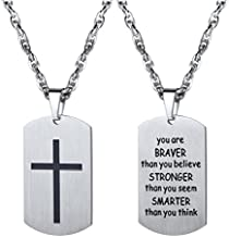 PROSTEEL Cross Necklace Dog Tag Dogtag Pendant Chain You are Braver Than You Believe Men Women Christian Jewelry Stainless Steel Inspirational Jewelry