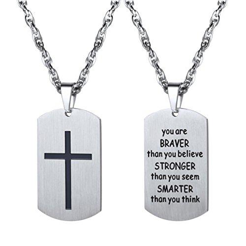 PROSTEEL Halskette Herren Edelstahl Kette mit Dog Tag Erkennungsmarke Anhänger Kreuz/Inspirierende Wörter beidseitig Gravur(Silber)