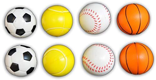 jameitop®💥Anti-Stressball 8er Set (Tennisball/Fußball/Baseball/Basketball) Verschiedene Härte - Stressbälle Knautsch Knet Ball Stressabbau Anti-Stress-Bälle 💥