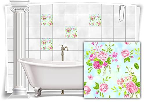 Medianlux M13m173-141092 - Adhesivo decorativo para azulejos (4 unidades, 15 x 15 cm), diseño floral