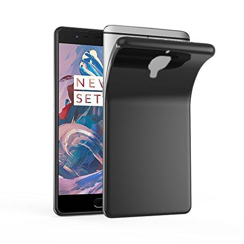 Cadorabo Hülle für OnePlus 3 / 3T - Hülle in SCHWARZ – Handyhülle aus TPU Silikon im Ultra Slim 'AIR' Design - Silikonhülle Schutzhülle Soft Back Cover Case Bumper