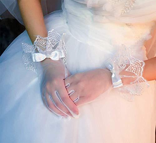 FACAI Brauthochzeitshandschuhe Brautkleider Etikette Handschuhe Kurz Weiche Garnspitze Atmungsaktive Handschuhe Bogenhandschuhe
