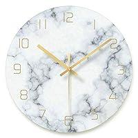 掛け時計 壁掛け 時計 掛け時計おしゃれ 部屋装飾 プレゼント 壁掛け時計、装飾ガラスウォールクロックは、バッテリーキッチン、リビングルーム、ベッドルーム、オフィス・ゴールドポインタでマーブル柄ファンのために、運営します