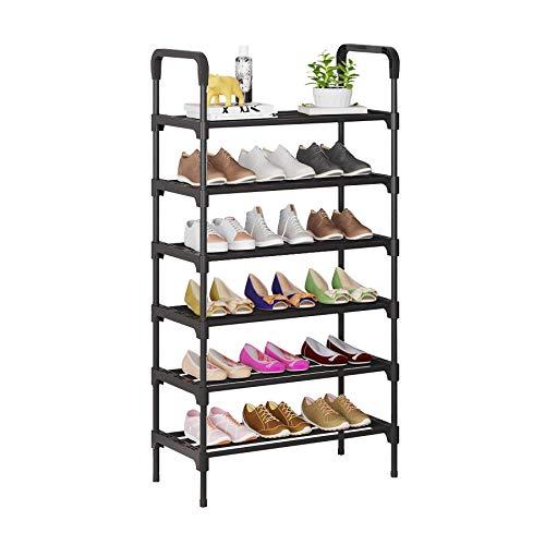UDEAR Organizador de Zapatos de 6 Niveles, estantes de Metal de pie para 18-21 Pares de Zapatos para Sala de Estar, Entrada, Pasillo y guardarropa, Negro