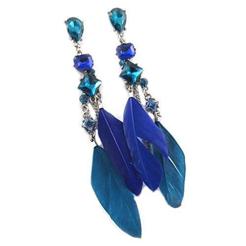 Les Trésors De Lily [P7283] - Boucles Créateur 'Cheyennes' bleu - 12x2 cm
