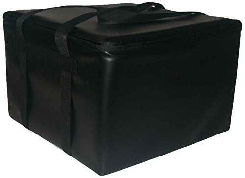 "TCB Insulated Bags HG-3-Black-P Insulated Pizza Delivery Bag, Holds 5 Each 16"" Pizzas, Zipper Lid, Black"