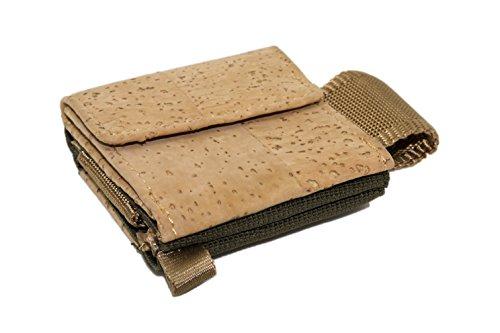Higher Level Premium Card Wallet hecho de corcho minimalista monedero todo terreno pequeño titular de la tarjeta mini delgada billetera con llavero