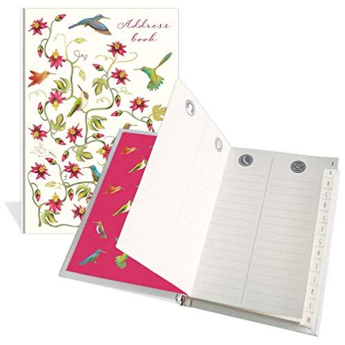 Libreta de direcciones de bolsillo de lujo con diseño de flores y pájaros, 104 páginas, tamaño 91 mm x 130 mm