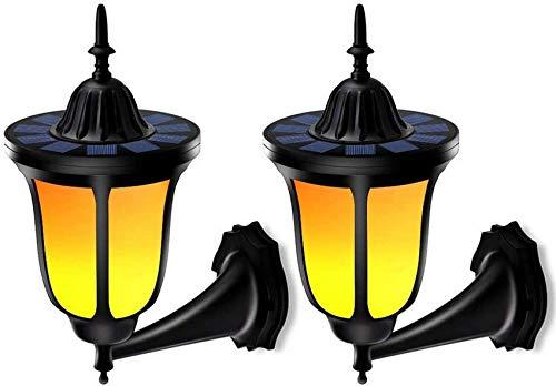 GANE wasserdichte Solarleuchten für den Außenbereich, LED-Solar-Wandleuchten Taschenlampen Flackernde Flammenleuchten, solarbetriebene Sicherheitsleuchten, Solarleuchte für Nachtlicht
