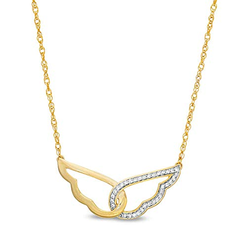 Ani's 1/8 CT. T.W. Round Cut CZ Clear Diamond Wings Necklace For Women's In 10K Yellow Gold Plated 925 Silver