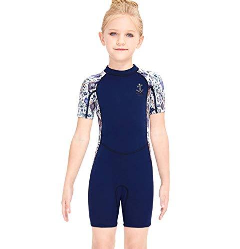 TYPING Barn våtdräkt flickor neopren baddräkt barn 2,5 mm termisk utslag skydd varma tjocka badkläder solskydd dykning snorkling dräkt UV 50 +, en blå, L
