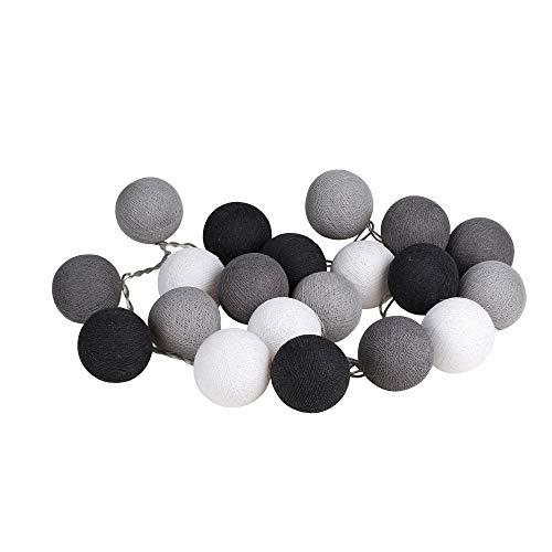 CHAINUPON 20 Cotton Ball String Fairy Lights Kid Bedroom,Home,Decor,Boys Girls Plug in Lights (Gray)