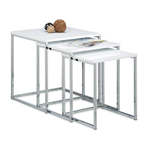 Relaxdays – Conjunto de 3 mesas auxiliares, madera y metal, diseño moderno, 42 x 40 x 40 cm, se pueden colocar uno sobre otro, color blanco