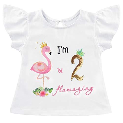 AMZTM Camiseta Cumpleaños Bebé Niña - Flamenco 2do Cumpleaño Fiesta Manga Corta Flameante 100% Algodón Top Volantes y Lentejuelas Blancas Ropa de Verano (Blancas, 90)