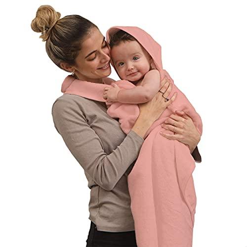 SIMPLY GOOD. Delantal de Toalla para bebés y bebés recién Nacidos, 100% algodón, Grande, Manos Libres, con Capucha, Toalla de baño para bebé y toallita para niño y niña (Rosa)