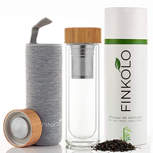 Finkolo - Bouteille isotherme pour le thé double paroi, 420ml