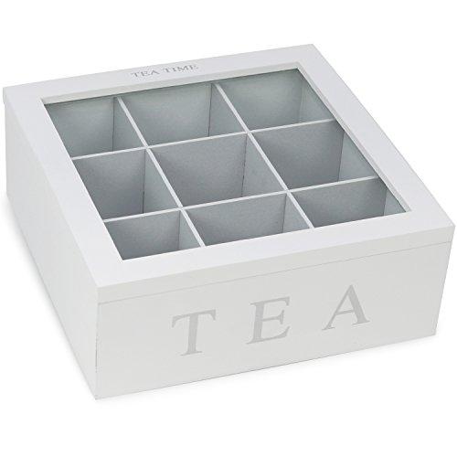 com-four® Aufbewahrungsbox für Tee, Teebeutel und Gewürze, Teebox aus Holz mit 9 Fächern und Sichtfenster, 22 x 22 cm (01 Stück - 22 x 22 x 8.5 cm weiß)