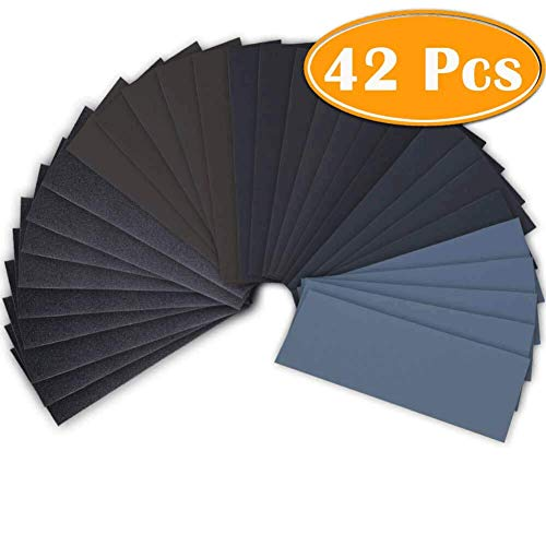 42 Pcs Wet Dry Sandpaper 120 to 3000 Grit Assortment 9 3.6 Inches Abrasive Paper Sheets for...