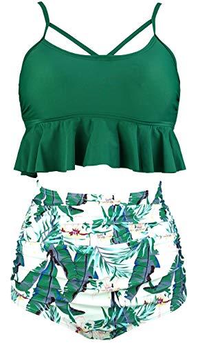 COCOSHIP Jolly Green & White Forest Monstera Leaves Falbala High Waist Bikini Set Crisscross Hollow Out Swimsuit Bath Swimwear L(US8)