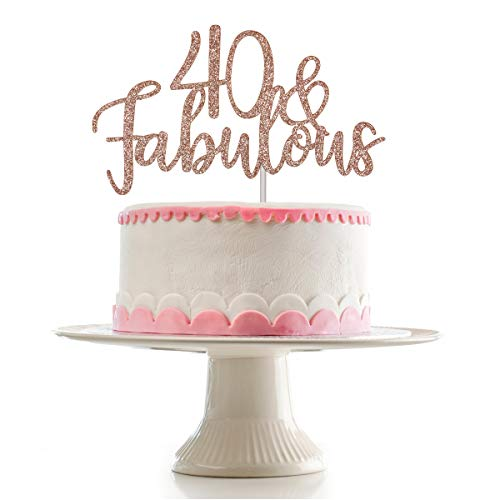 Rose Gold Glittery 40 & Fabulous Cake Topper for 40th Birthday Party Decorations,Birthday Cake Topper Decor(Double Sided Glitter)