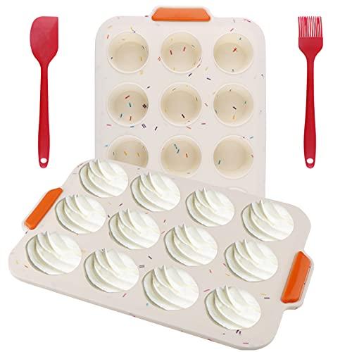 Teglie per Muffin 2 Pack Silicone Muffin Stampo Teglia Antiaderente per 12 Muffins per Forno e Microonde, Lavabile in Lavastoviglie