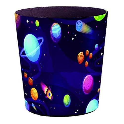 FBBM Papierkorb Kinder mit Motiv Weltraum 10L Papierkörbe Kinderzimmer Abfalleimer aus Leder Wasserdicht Mülleimer ohne Deckel für Kinderzimmer Wohnzimmer Schlafzimmer Büro Küche