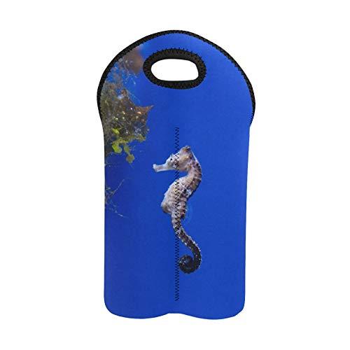 2 Flaschen Weintasche Aquarium Fisch Seepferdchen Seepferdchen ist eine Gattung von Sma Weinträger Tragetasche Doppelflaschenträger Flasche Geschenkbeutel Dicker Neopren Weinflasch