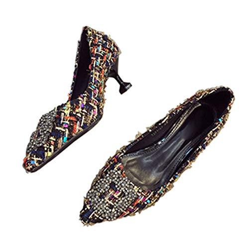 Whale Kri Stilvolle Frauenpumpen-Schuhe Kätzchen-Talon Spitze Zehenarbeitsschuhe Niedriger Absatz