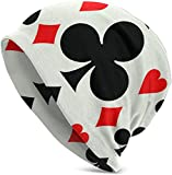 suizhoufa Gorros de Punto Poker Pattern Card Suits Casual Fashion Autumn and Winter Knit Hat Soft Warm Ski Caps Unisex Soft Cotton Warm Hooded Cap Outdoor Hat Black Daily Going out Unisex Hiking