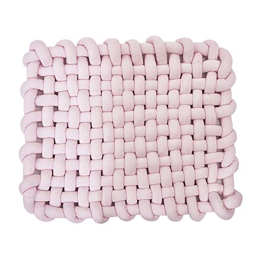 Wonder Space Knotted Braided Plush Mat, Baby Infant Newborn Sleeping Tummy Time Playing Nursery Rug Knot Floor Cushion, Handmade Pure Soft Fabric, Fashion Cute Toddler Children Room Decor, Pink
