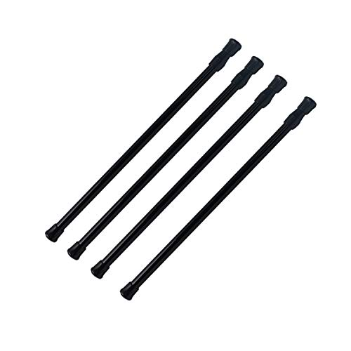 LoveDeal Mini Spring Cupboard Bars Tensions 11.8' to 20', Adjustable Short Tension Shower Rod, Round French Door Curtain Rods - for Cupboard, Cabinet, Wardrobe, Door, Window, Bathroom - Black, 4 Pack
