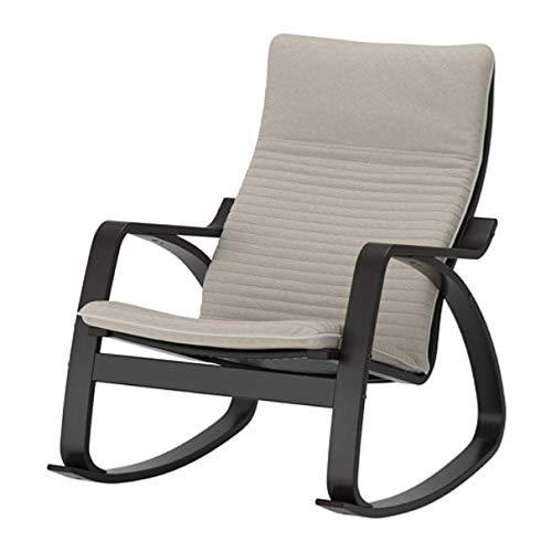 Ikea 492.415.45 - Sedia a dondolo Poang, colore: Nero Marrone Beige chiaro