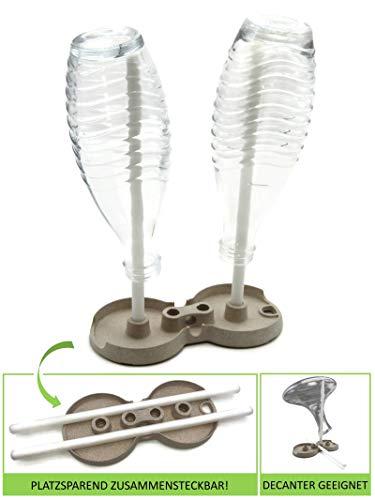 STYYL Universal Abtropfständer für Flaschen, Glaskaraffen, Decanter. Platzsparend Faltbar, Nachhaltig aus Biokunststoff. Abtropfgestell Abtropfhalter