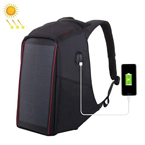 WishY 12W Paneles Solares Solar Mochilas, Cargador Solar Mochilas Conveniente para Acampar, Senderismo, Viajes, iPhone, iPad, Huawei, Al Aire Libre,Black