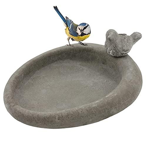 My-goodbuy24 Vogeltränke Futterstelle Garten - für Vögel - Vogelbad Futterschale Vogelbecken aus Zement - oval - mit 1 Deko Vogel-Figuren