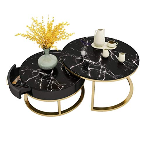 WUKALA Modern Round Nesting Tables, Set Of 2 Coffee Tables, Living Room Table With Drawers, Home Accessories, Central Marble Table