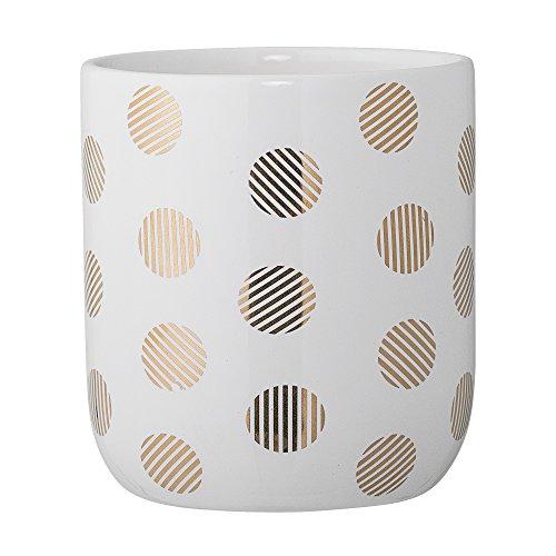 Pot blanc et doré à pois céramique - Bloomingville