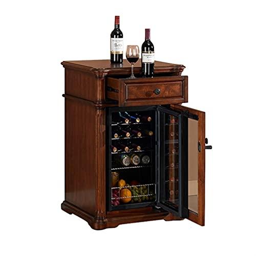 Bodega de Vino de 20 Botellas, gabinete de Vino con Control de Temperatura Independiente, refrigerador para el hogar pequeño, Incorporado (Color : Brown, Size : 60 * 55 * 98cm)