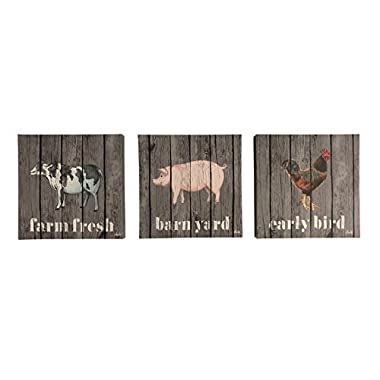 Boston Warehouse Canvas Wall Art, Farm Animals, 12 x12 , Set of 3
