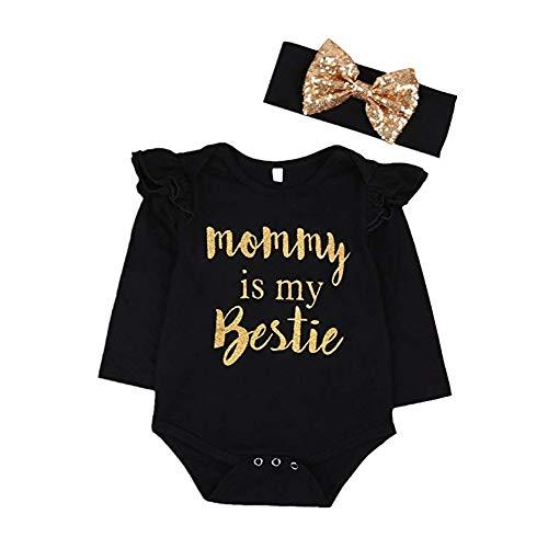 CIPOPO Baby Kleidung Neugeborenen Mädchen Mommy is My Bestie Lange Ärmel Bodysuit Strampler + Stirnband Overall Playsuit Romper Outfit (schwarz, 0-6m)