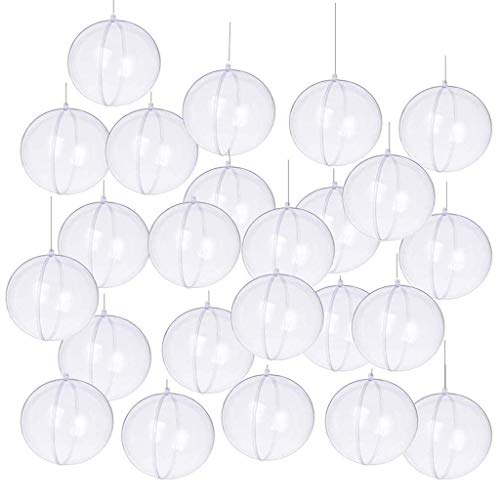 Yeelan Christmas Clear Baubles Transparent Ball Plastic Fillable Sphere Ornament for Xmas Tree/Home Decoration /Wedding/Birthday/Party/Gift Box etc (80mm, 24pcs)
