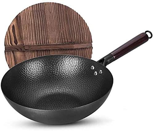 ksamwjf Wok para inducción Wok Old Fashioned Wok 32cm Forjado a Mano Sin Recubrimiento Sartén Antiadherente Wok Cocina de Gas Cocina de inducción Olla Especial  Mercancía