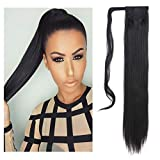 SARLA Straight Long Ponytail Hair Extension Clip in Wrap Around Synthetic Black Fake Pony Tail Hairpiecs Hair Piece For Women Heat-Resisting Fiber 24' 4.3oz P001&1B