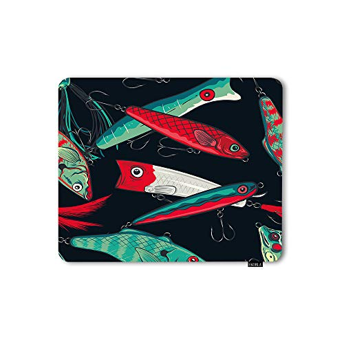 EKOBLA Fishing Lures Mouse Pad Sea Marine Anchor Fisherman Catch Fish Nature Exotic Colorful Decorative Mouse Pad for Office Desktops Computer PC Natural Rubber 7.9x9.5 Inch