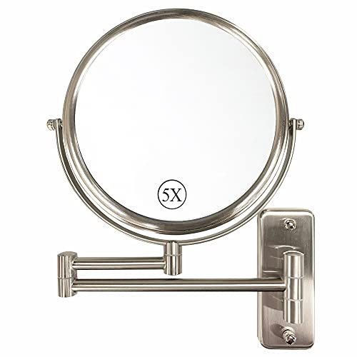 Wall Mounted Makeup Mirror, 8 Inch Double Sided 1X/5X Vanity Magnifying Mirror for Bathroom, Brushed Nickel DECLUTTR