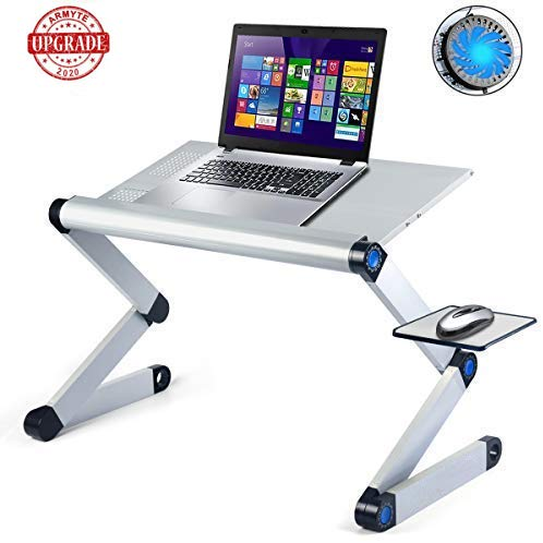 Adjustable Laptop Stand with Cooling Fans & Mouse Pad, Upgraded Aluminum Alloy Computer Desk Foldable Portable for 17 inch Laps on Desk Bed Sofa Couch (Silver)